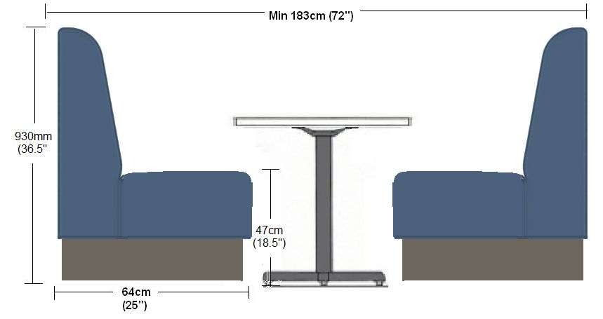 4 Seater Deep Fluted Booth Set